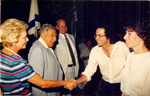 With Teddy Kolek, 1988